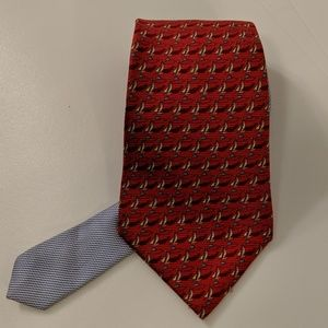 Tommy Hilfiger Silk Neck Tie Red with Sailboats